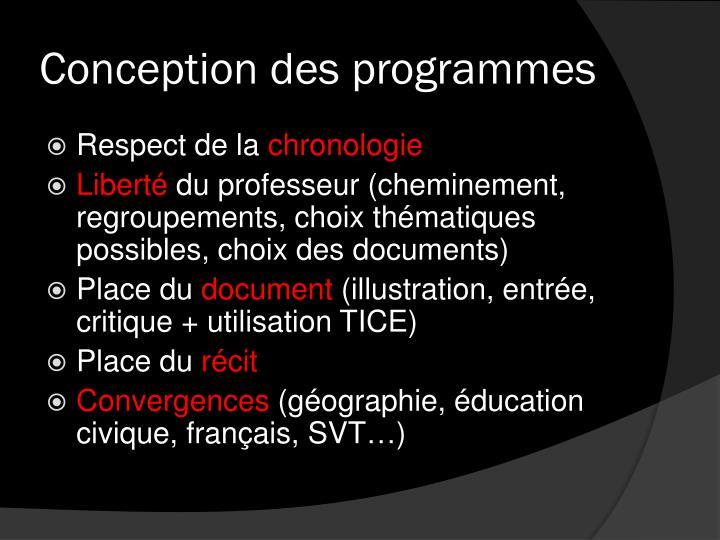 Conception des programmes