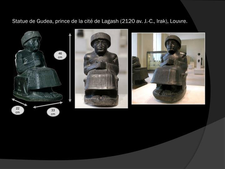 Statue de Gudea, prince de la cité de Lagash (2120 av. J.-C., Irak), Louvre.