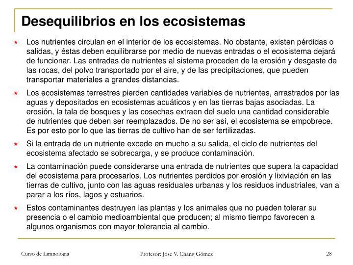 Desequilibrios en los ecosistemas