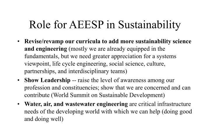 Role for AEESP in Sustainability