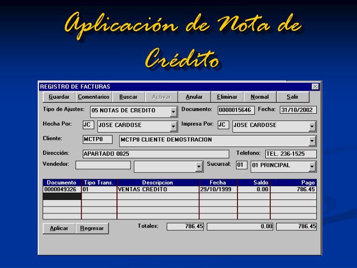 Aplicación de Nota de Crédito