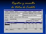 registro y consulta de notas de cr dito