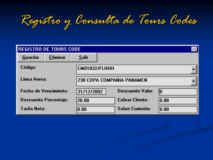Registro y Consulta de Tours Codes