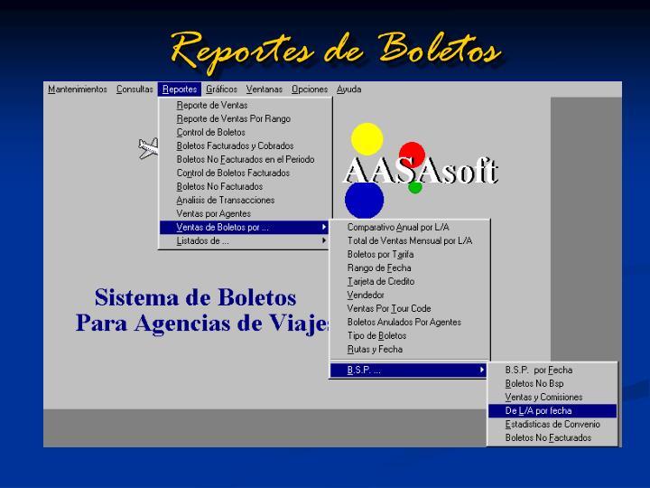 Reportes de Boletos