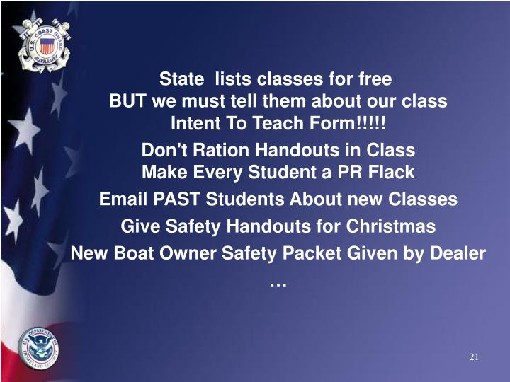 State  lists classes for free