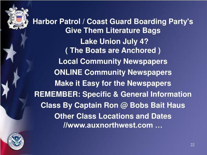 Harbor Patrol / Coast Guard Boarding Party's