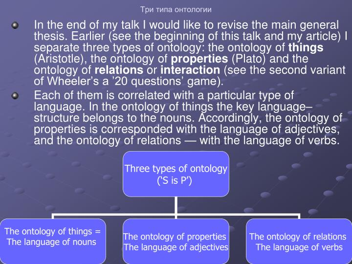 Три типа онтологии