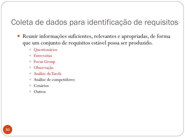Coleta de dados para identificação de requisitos