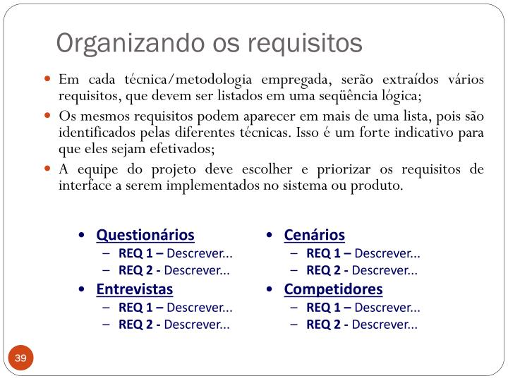 Organizando os requisitos