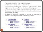 organizando os requisitos