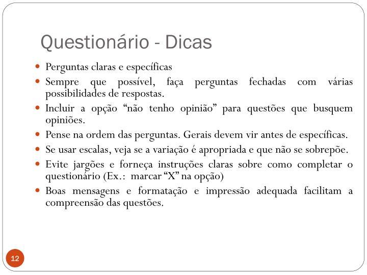 Questionário - Dicas