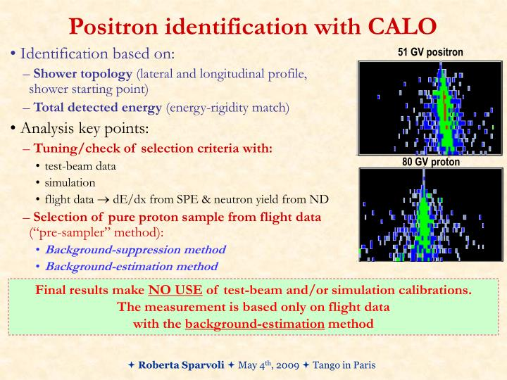 Positron identification with CALO