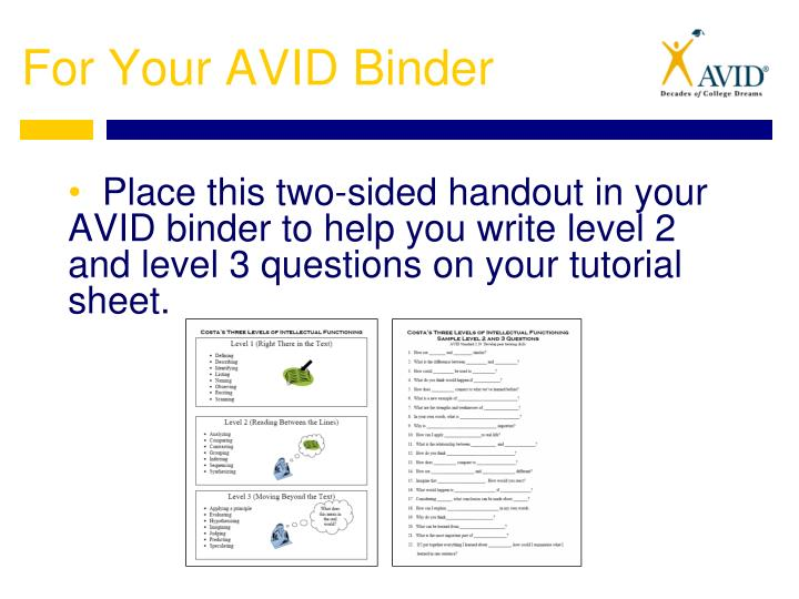For Your AVID Binder