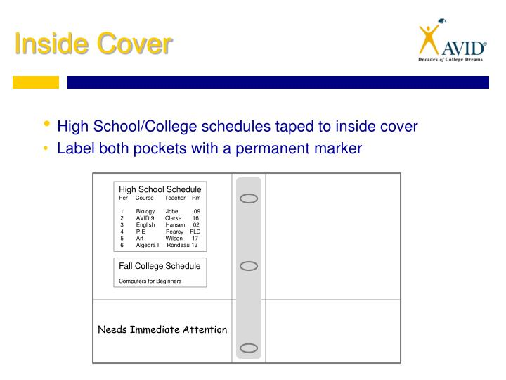 High School/College schedules taped to inside cover