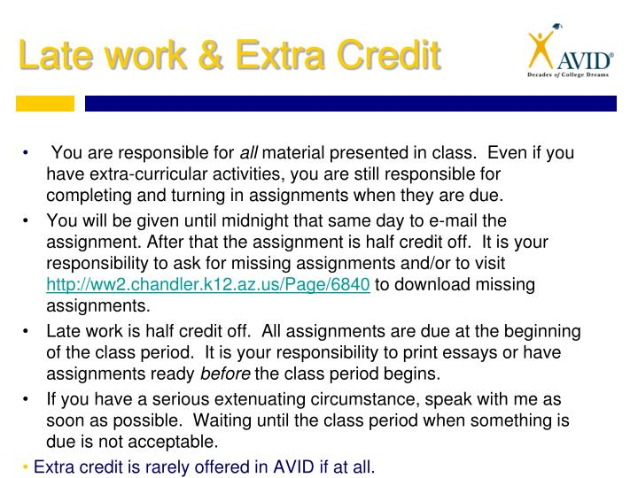 Late work & Extra Credit