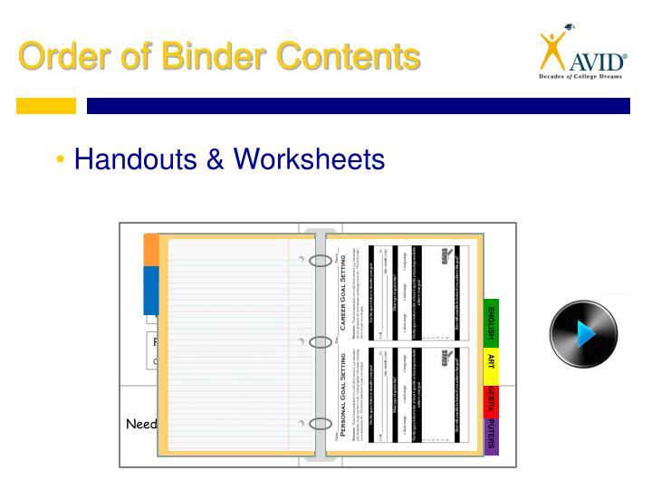 Handouts & Worksheets
