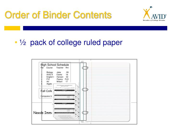 ½  pack of college ruled paper