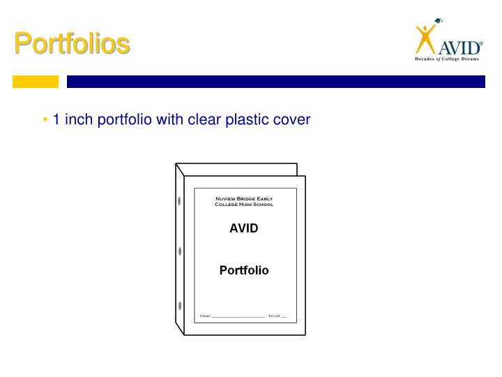 1 inch portfolio with clear plastic cover