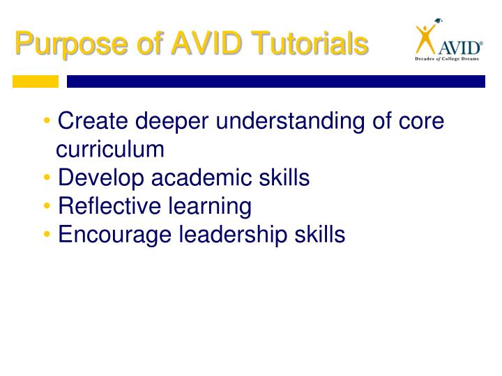 Purpose of AVID Tutorials