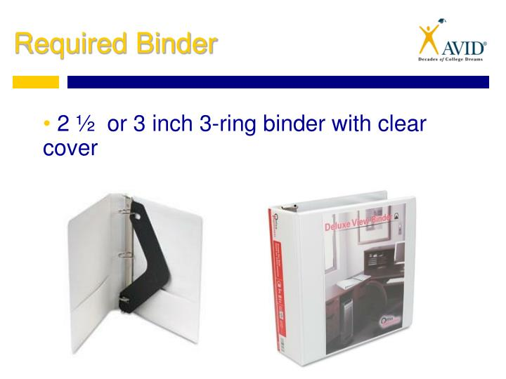 2 ½  or 3 inch 3-ring binder with clear cover