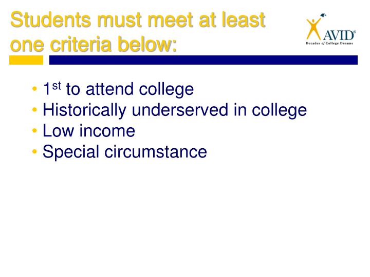 Students must meet at least one criteria below: