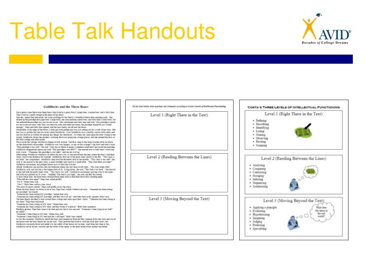 Table Talk Handouts