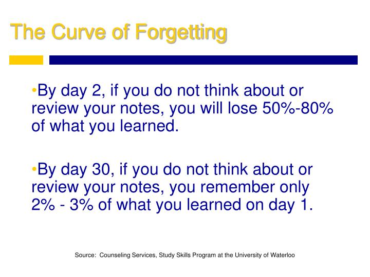 By day 2, if you do not think about or review your notes, you will lose 50%-80% of what you learned.