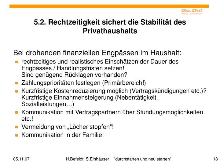 5.2. Rechtzeitigkeit sichert die Stabilität des Privathaushalts