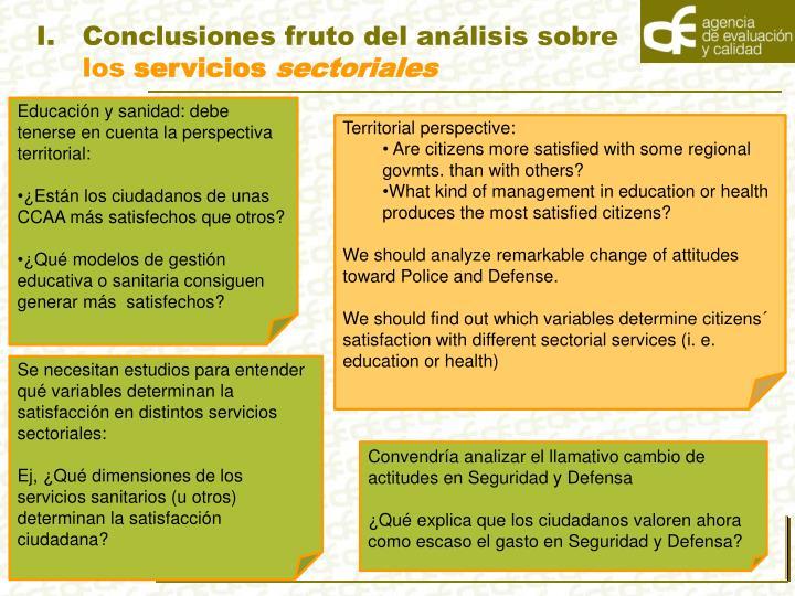 Conclusiones fruto del análisis sobre