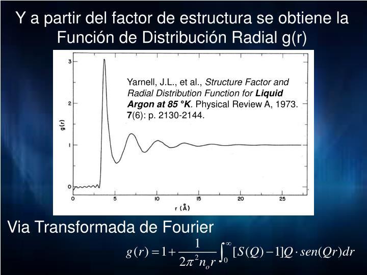 Y a partir del factor de estructura se obtiene la Función de Distribución Radial g(r)