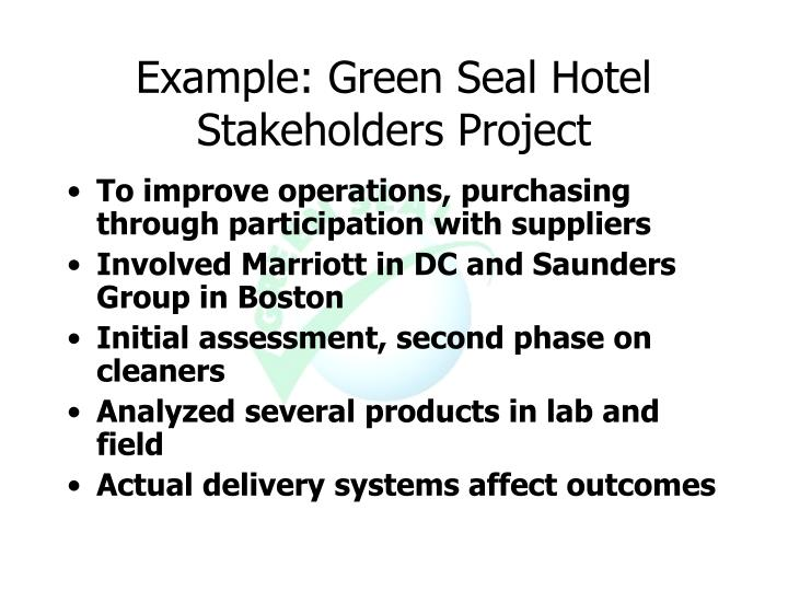 Example: Green Seal Hotel Stakeholders Project