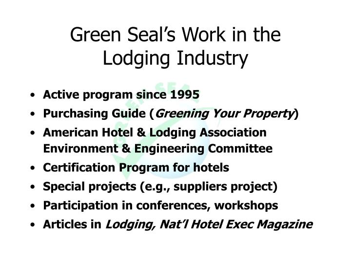 Green Seal's Work in the