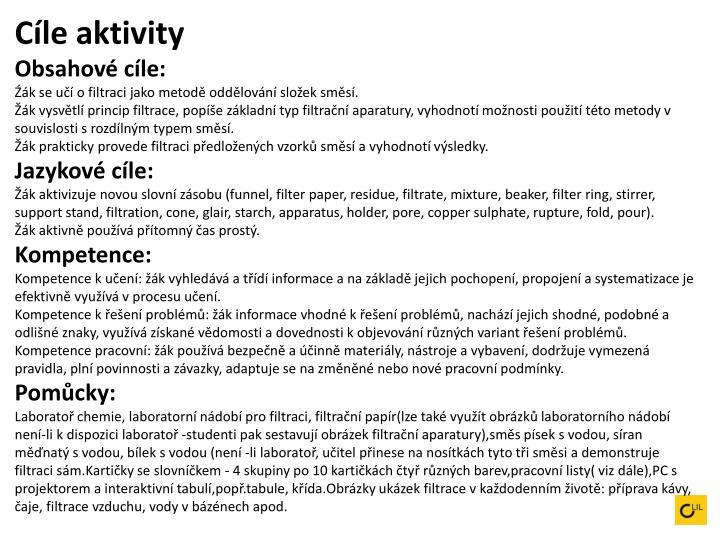 Cíle aktivity