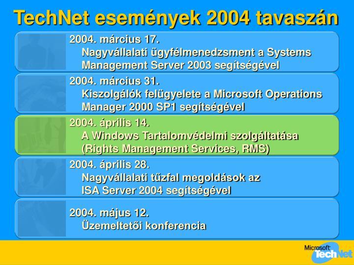 TechNet események 2004 tavaszán