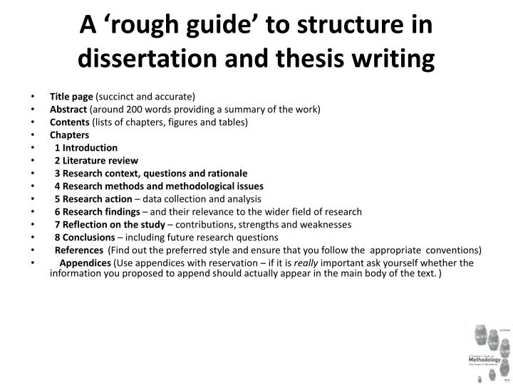 A 'rough guide' to structure in dissertation and thesis writing