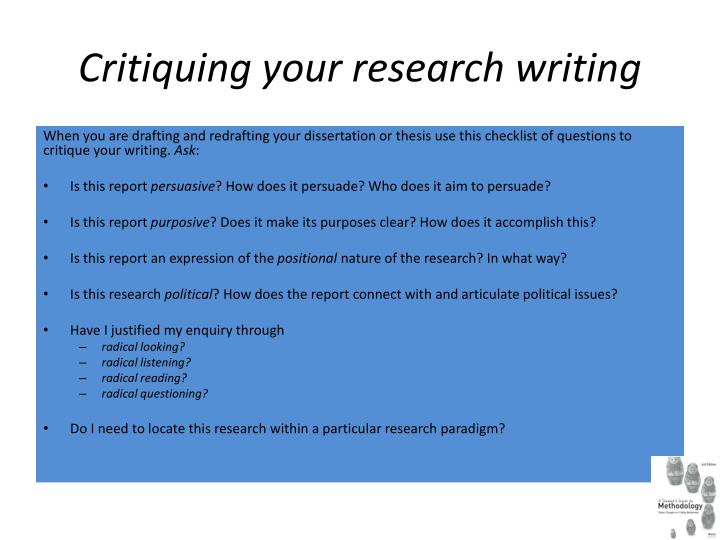 Critiquing your research writing