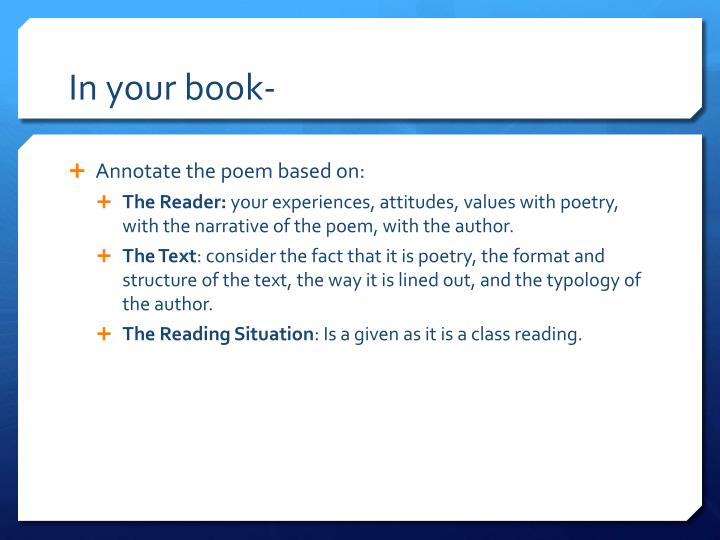 In your book-