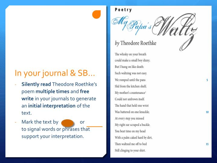In your journal & SB…