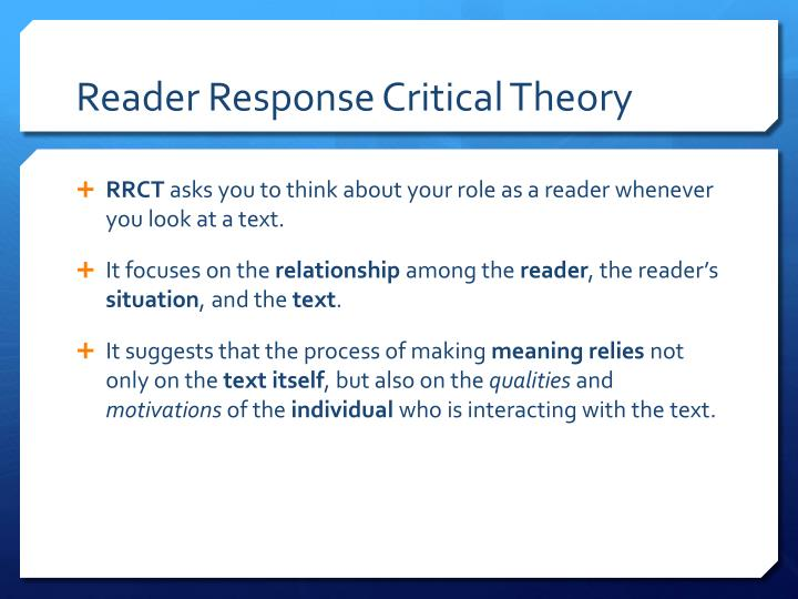 Reader Response Critical Theory