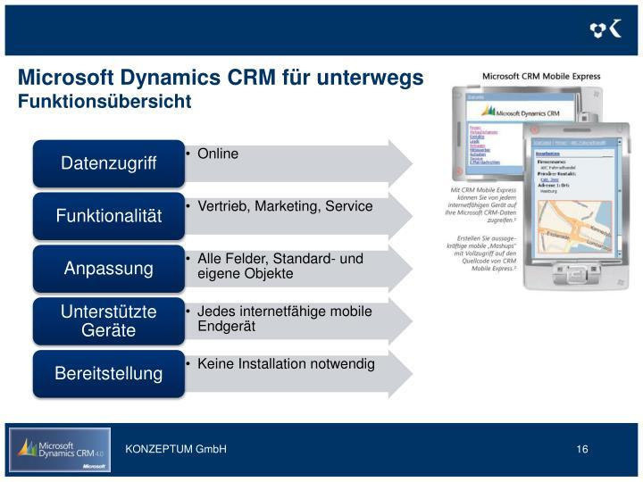 Microsoft Dynamics CRM für unterwegs