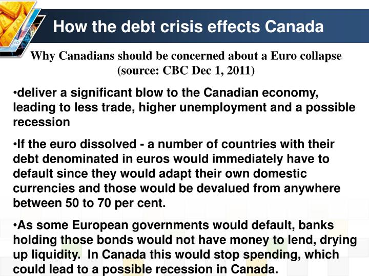 How the debt crisis effects Canada