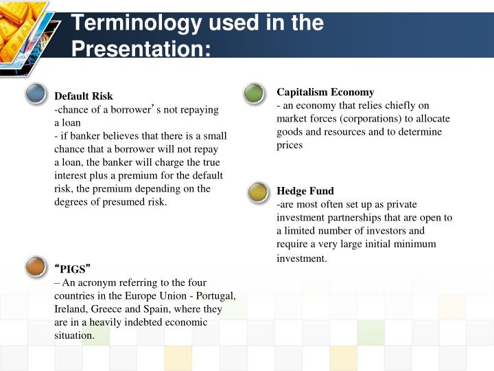 Terminology used in the Presentation: