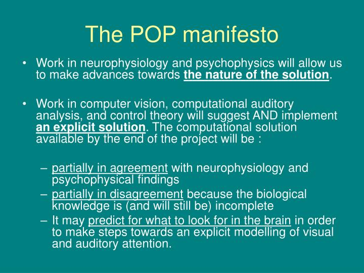 The POP manifesto