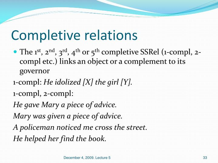 Completive relations