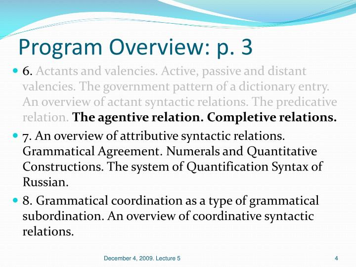 Program Overview: p. 3