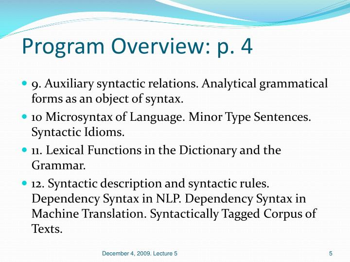 Program Overview: p. 4
