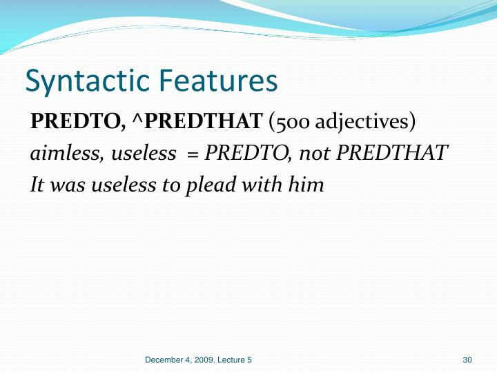 Syntactic Features