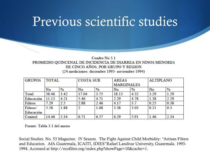 Previous scientific studies