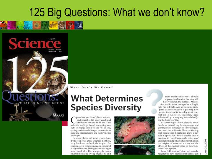 125 Big Questions: What we don't know?