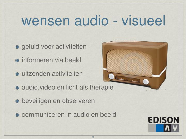 wensen audio - visueel